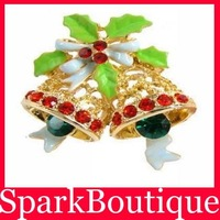 Min Order $5 (Mix Order) 2013 Christmas gifts Christmas Bells Crystal Brooch Delicate Brooch Fashion Jewelry
