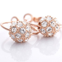 Free shipping hot sale  colorful ball crystal Drop Earrings,diamante Drop Earrings gold plateed