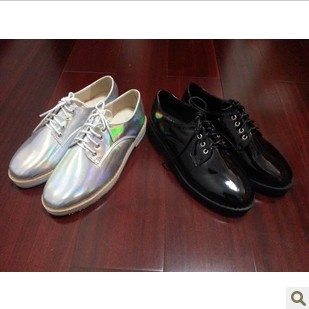 2013 New arrival laser symphony genuine leather pointed toe flat lacing shoes Silver color