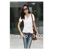 Free Shipping, Hot Sale New Arrival Womens Loose Sleeve T-shirt Stitching Short-sleeved Top for Ladies ,4 Colors available, Y22