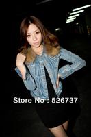 2013 Free Shipping new hot Fashion Cozy jeans cloth Shawl Coat blouse blazer slim Wild suit Stripe With Fur Collar Girls Jacket
