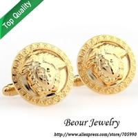 Gold Circle Business Men's Cufflinks QT0990 - Free shipping
