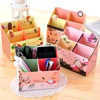 Cartoon 4 Slot Cosmetics Storage Box Paper Desktop Sundries Organizer  Make Up Case Pencil Box New