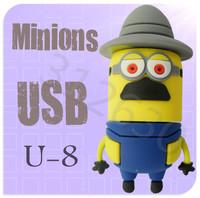 Hot sale U08 Minions 2 Despicable Me Cartoon U Disk 256MB 4GB 8GB 16GB 32GB 64GB USB 2.0 Flash Memory Stick USB Flash Drive
