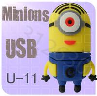 Hot sale U11 Minions 2 Despicable Me Cartoon U Disk 256MB 4GB 8GB 16GB 32GB 64GB USB 2.0 Flash Memory Stick USB Flash Drive