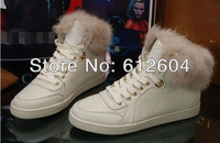 Designer women rabbit fur sneakers high top booties flats leisure shoes motorcycle boots size 34 to 40  heightenn snow boots