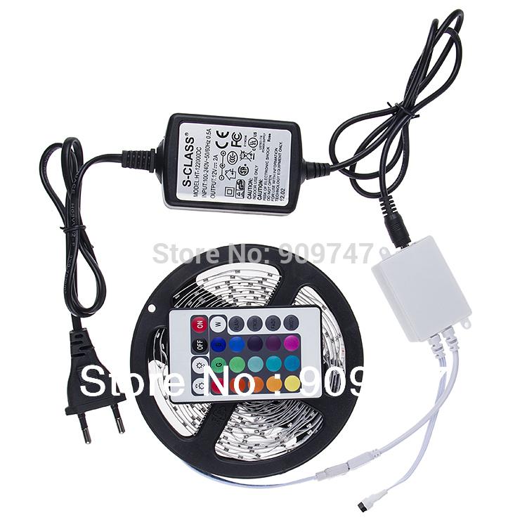 NON-Waterproof 3528 RGB Led Strip Flexible Light 60led/m 5M 300 LED SMD DC 12V+ IR Remote Control + 2A Power Supply freeshipping(China (Mainland))