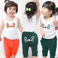 2013 summer cat boys clothing girls clothing baby child short-sleeve capris set tz-0679