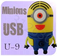 Hot sale U09 Minions 2 Despicable Me Cartoon U Disk 256MB 4GB 8GB 16GB 32GB 64GB USB 2.0 Flash Memory Stick USB Flash Drive