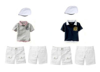 New 2013 summer children's fashion clothing set boys short-sleeved cotton collar T-shirt + shorts + gentleman cap 3 pieces suit