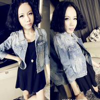 Korean Women Hole Three Quarter Sleeve Short Design Denim Jacket Slim Outerwear Free Shipping