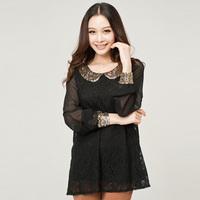 new 2014 fashion peter collar blouse big size lace chiffon shirt woman plus size  blouse