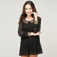 new 2014 fashion peter collar blouse big size lace chiffon shirt woman plus size  blouse