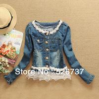 2013 Free Shipping new hot Fashion Girls Slim Beign Lace Coat Cute women's Long Petal Sleeve outwear jeans jackets