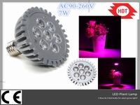 High Quality AC90-260V 7W 6 Red and 1 Blue LED Plant Grow Light LED Lamp for  Plant and hydroponics ufo led lights