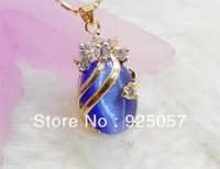 Dark Blue Exquisite golden color 13x18mm Oval Mexican Opal Gems Pendant Necklace