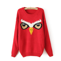 2013 New Autumn European Style Women's Cotton Blends Shirt Lady Owl Pattern Montage O-Neck Full Sleeve Loose Knitwear In Stock
