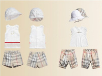 New 2013 summer  children's clothing set for boys girls cotton T-shirt + plaid shorts + topi hat 3 piece suit