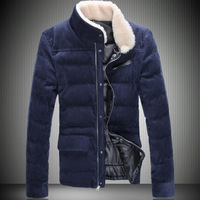 2013 male plus size winter wadded jacket men's clothing stand collar corduroy cotton-padded jacket fur collar men's wadded