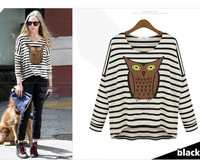 Lady Long Sleeve Round Neck Stripe Owl Printed Cotton Loose T Shirt Tops New