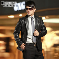 2013 genuine leather clothing male sheepskin suit collar leather clothing short design slim men's clothing