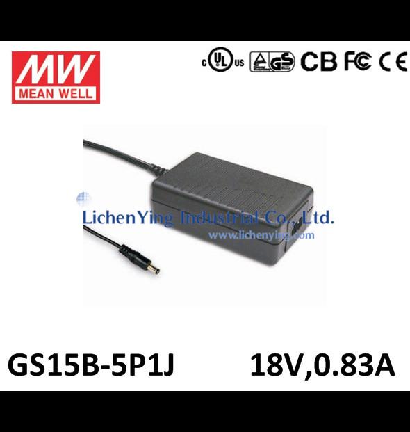 Genuine MeanWell 15W 18V 0.83A Single Output Desktop type Green Adaptors GS15B-5P1J 2 pole AC inlet IEC320-C8 Adapters UL CE(China (Mainland))