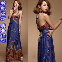 Ultra long one-piece dress summer halter-neck racerback ultra slim long dress vintage casual beach dress