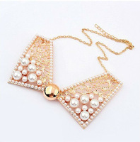 Min.Order $15 (Mix Wholesale) Europe Quality  Fake Collar, Pearl Bowknot Alloy  Lace Necklace/Choker For Women,Free Shipping,L49