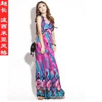 Ultra long one-piece dress halter-neck print vintage ultra long  bohemia beach dress