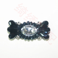 DIY Wholesale dark blue Shoes flower bow crystal beaded shoes decorated Glass Stone buckle accessories free shipping