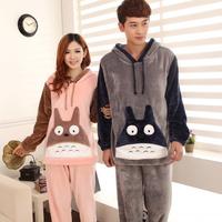 Winter thickening cartoon totoro long-sleeve coral fleece lovers sleepwear female flannel sleepwear male lounge set