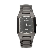 SINOBI New Fashion Rectangle Men's Stainless Steel Wrist Watch Quartz Black WTH0028