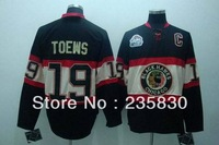 13-14 New style chicago blackhawks jersey Third part black color Toews hockey jersey with classic winter crest free shipping