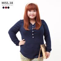 Miss38 mm autumn female all-match rhinestone buckle V-neck elastic rib knitting shirt basic t-shirt 6152