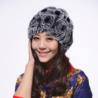 2013 women's rex rabbit rose fur hat knitted hat winter thermal