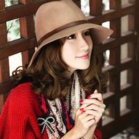 Wool hat female autumn and winter fedoras fashion leather buckle on jazz hat large brim fashion cap