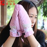 Women down winter gloves winter windproof waterproof yarn thermal thickening