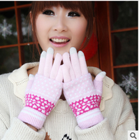 Wholesale  winter thermal knitted touch screen gloves touch screen gloves five fingers  fee shipping