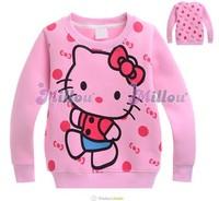 Hot sale girls hello kitty fleece hoodies cartoon kids long sleeve sweatshirt baby Autumn/winter sweat wholesale 6pcs/lot