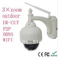 Outdoor 3xZoom PTZ Pan Tilt Wireless WiFi Varifocal Lens CCTV NightVision Security IP POE Internet Camera  IR Cut