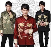 Free Shipping New Black burgundy green Chinese men's Dragon Kung FU jacket/coat SZ M L XL 2XL 3XL