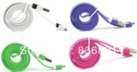 Whole sale colorful noodle flat Micro USB data & charging cable for samsung/HTC/Moto/Nokia & Blackberry,DHL freeshipping
