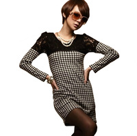 Free shipping 2013 autumn and winter women's slim tight slim hip sexy one-piece dress houndstooth design long-sleeve basic