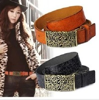 Carved Panels Buckle Belt Ladies Leather Belt Wild Casual Cowskin Belts For Women Genuine Smooth Buckle Wholesale Free Shipping