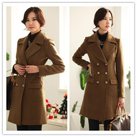 2013 double-breasted Winter Long Wool Coat Womens Black,Coffee Color Blend Coat Ladies Free shipping