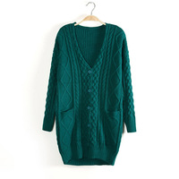 Free Shipping New 2013 Women Sweater Cardigan Solid color Twisted Double Pocket V-Neck Long-sleeve