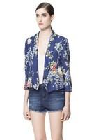 Women Fashion CERAMIC printed Blazer Ladies Casual Coats ZA Brand Design Women's  Flower Prints Short Blazer women Fashion Coat