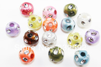 New Bead!  Wholesale Random Mixed Color Bling Beads Acrylic Rhinestone/Drill Beads Jewelry Making ,200pcs,Free Shipping!