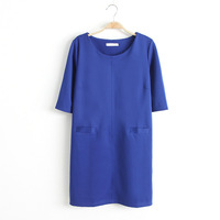 Free Shipping 2013 Autumn Women Knitted Half Sleeve Double Pocket One-piece Casual dress