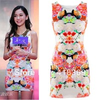 2013 Fashion  Slim Thin Sleeveless Dress Big Flower Vest One-piece Dress Free Shipping